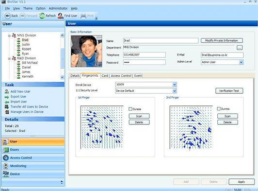 software sistema control accés empremptes